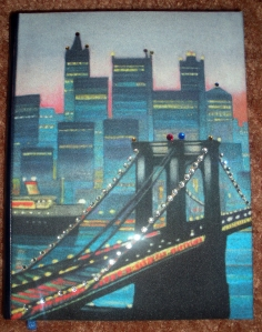 My rhinestone-studded Brooklyn Bridge notebook